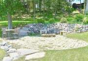 Stone patio at waterfront