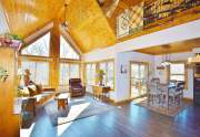 Vaulted, knotty pine ceilings