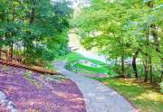 Concrete paver path to lake