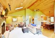 Vaulted, knotty pine ceiling