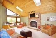 Stone gas fireplace